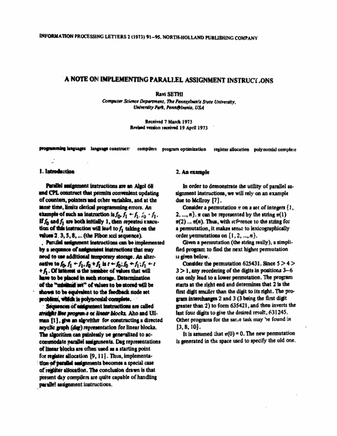 A note on implementing parallel assignment instructions Science Direct