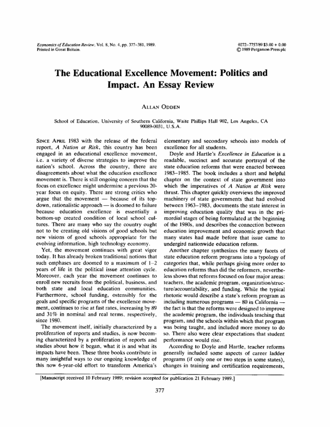 the educational excellence movement  politics and impact  an essay    first page preview