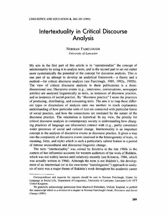 I need an essay for Critical Discourse Analysis. Can anybody help?