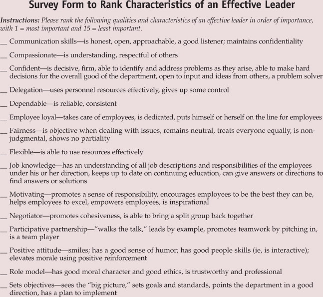 Nurses' Views on the Characteristics of an Effective Leader