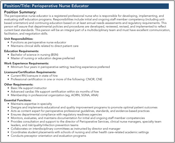 Transitioning From Perioperative Staff Nurse to Perioperative Educator – Nurse Educator Job Description