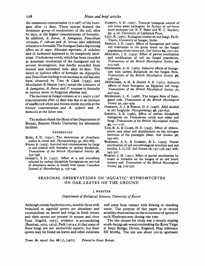 Thesis aquatic hyphomycetes