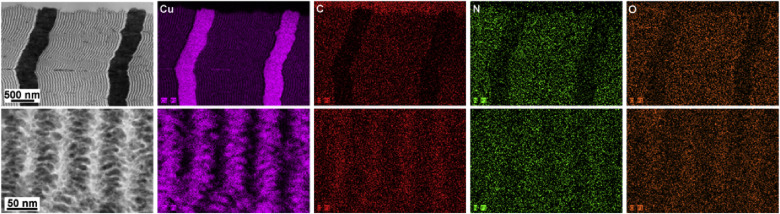 TEM-EDS elemental maps of cross-sectioned Sample D. The lower magnification ...