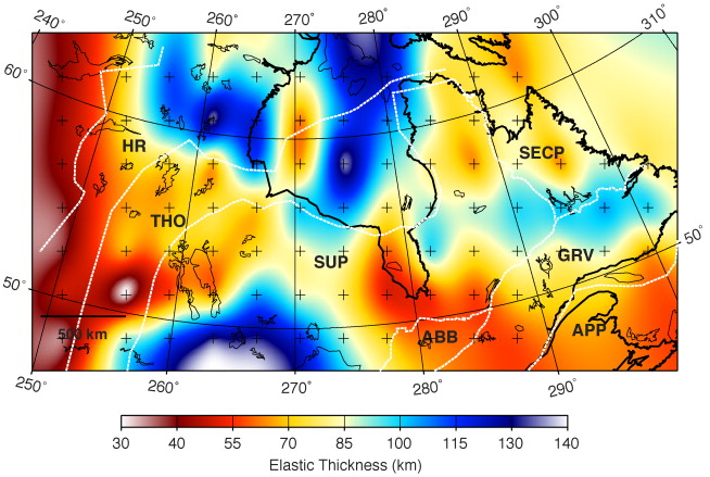 Variations In Elastic Thickness In The Canadian Shield ScienceDirect - Map of the us canadian shield