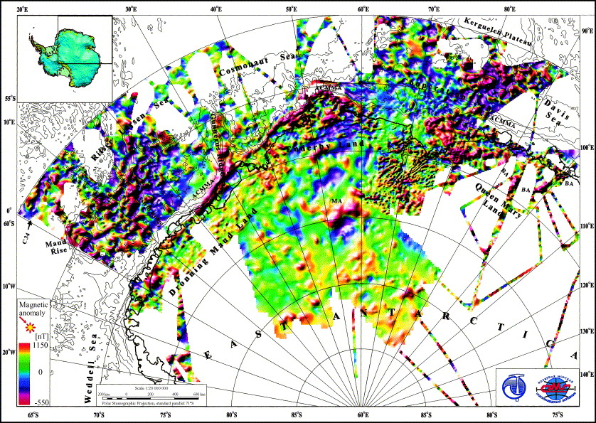The composite magnetic anomaly map of the East Antarctic
