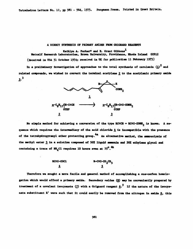 A direct synthesis of primary amides from grignard reagents ScienceDirect First page preview