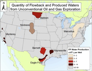 Quantity of flowback and produced waters from unconventional oil and gas exploration