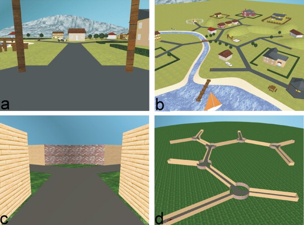 Navigation efficiency through virtual park (a,b) and virtual maze (c,d) by Weniger et al., as a determinant of capability in allocentric and egocentric memory (adapted from Weniger et al., 2012)