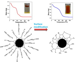 Surface functionalisation of iron oxide particles