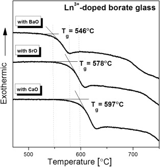 dsc curves for lndoped borate glasses