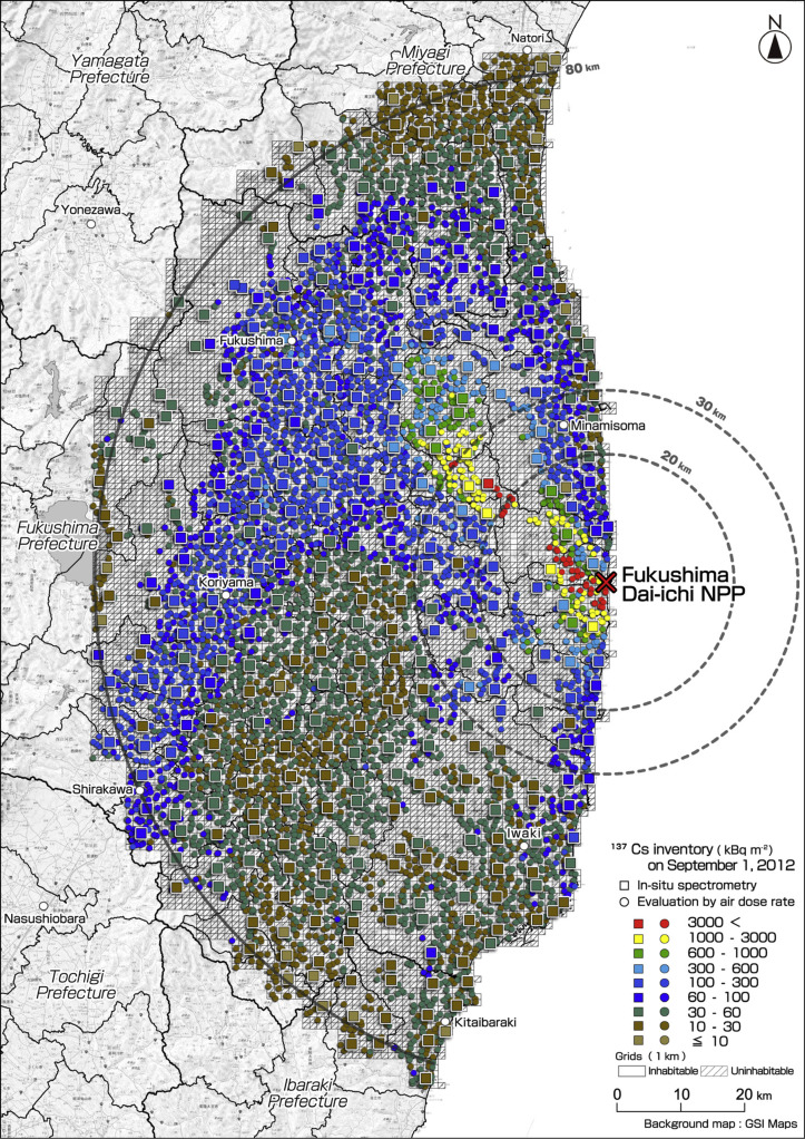 Spatial Distributions Of Radionuclides Deposited Onto Ground Soil - Japan radiation map 2014