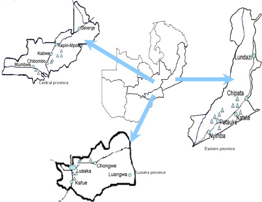 Map of Zambia showing sampling
