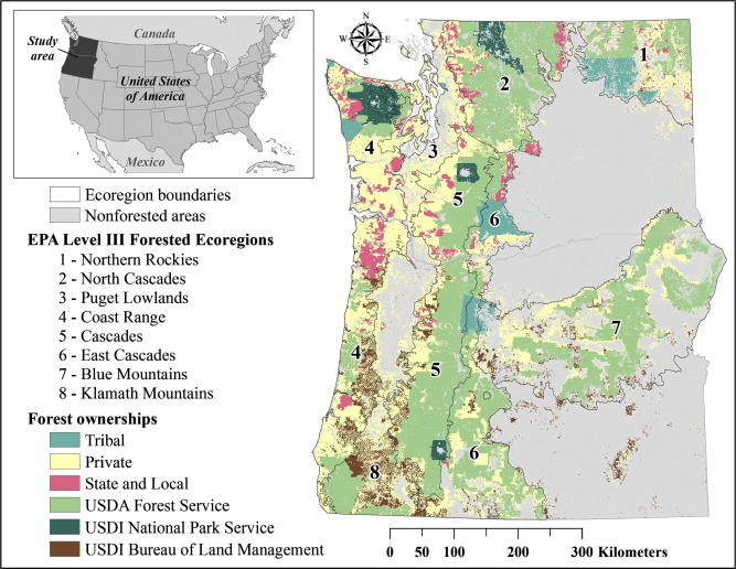 Study Area Map Showing The Major Forested Ecoregions And Major Forest Ownership