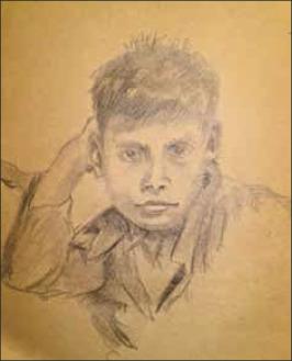 Dibujo a lápiz de uno de sus hijos(Cortesía de la Familia Fuenzalida Ruiz).