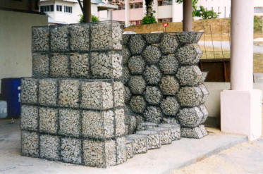 The stability of gabion walls for earth retaining structures