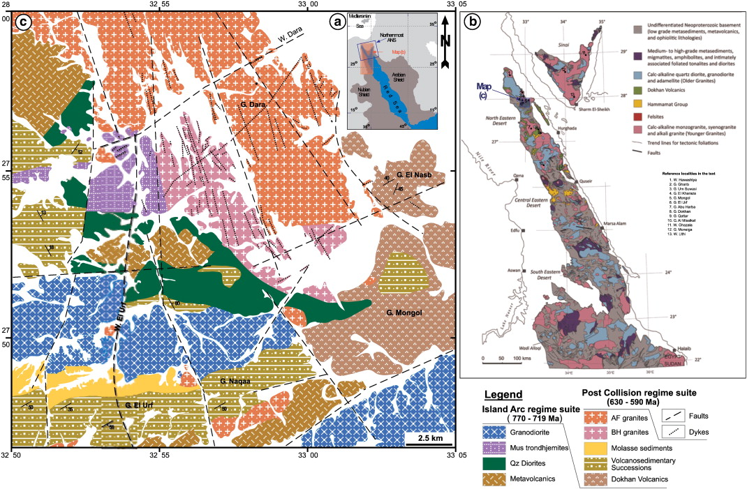SIMS Zircon UPb And Mica KAr Geochronology And SrNd Isotope - Map of egypt eastern desert