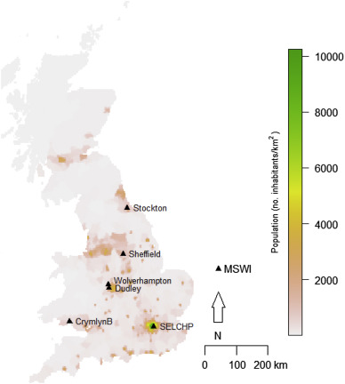 Map of the UK MWI included in this study. Base map: population density in 2000 ...