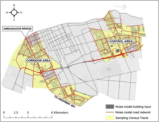 Sampling Areas Road Network And Buildings For Noise Model In Windsor Ontario