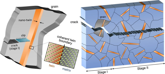 Fatigue crack growth in presence of nano-twins with coherent Σ3 boundaries.