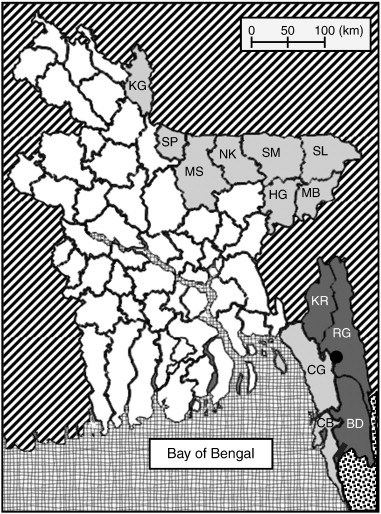 Map Of Bangladesh Showing All Districts