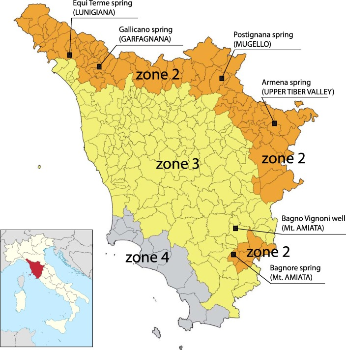 anomalous co2 content in the gallicano thermo-mineral spring ... - Bagno Vignoni Map