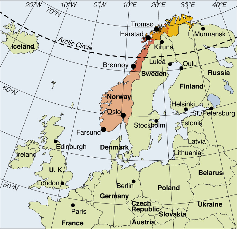 Borrelia Burgdorferi Sensu Latoinfected Ixodes Ricinus Collected - Map of arctic circle