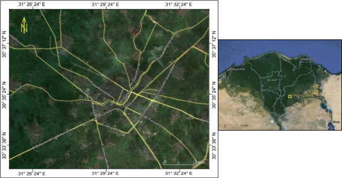 Engineering Seismological Studies In And Around Zagazig City - Map of zagazig egypt