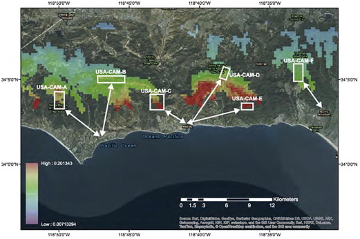 A-Index for topography near Malibu, California. Regions for potential IPRHOS ...