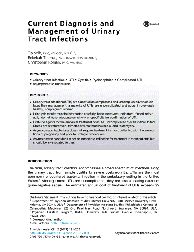 Current Diagnosis and Management of Urinary Tract Infections