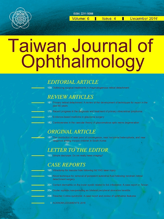 Cover image Taiwan Journal of Ophthalmology