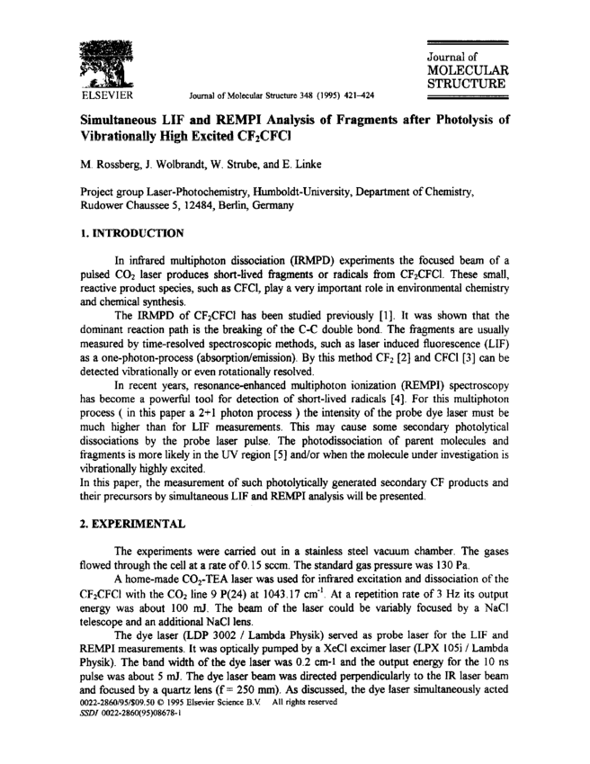 Simultaneous LIF and REMPI analysis of fragments after