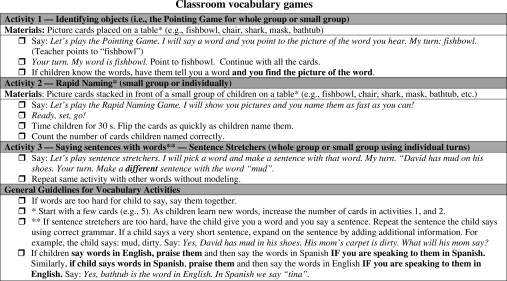 Vocabulary Development And Intervention For English Learners
