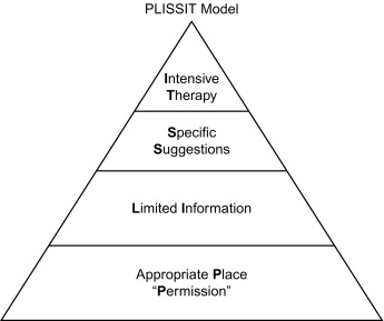 The PLISSIT model involves four graded steps of offering permission (P)  (and confirming the setting is the appropriate place (P) to address  sexuality); ...