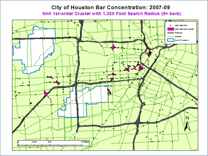 The location of late night bars and alcoholrelated crashes in