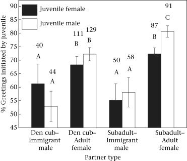 Greetings promote cooperation and reinforce social bonds among percentage of greetings with adults that were initiated by juveniles den cubs were juveniles still residing at the den whereas subadults were juveniles m4hsunfo