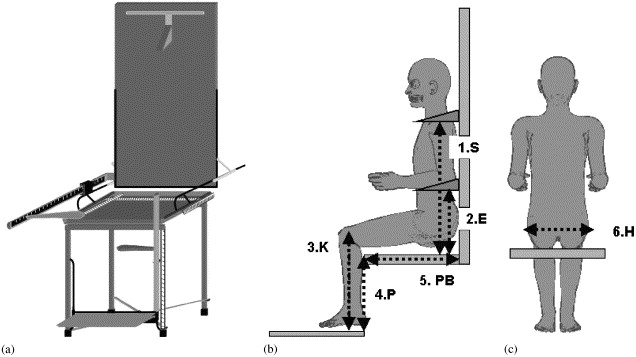 Visual representation of (a) anthropometric chair (b) anthropometric measurements (lateral view) and (c) anthropometric measurements (posterior view).  sc 1 st  Science Direct & Match between school furniture dimensions and childrenu0027s ...