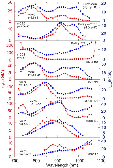 Excitation Spectra and Brightness Optimization of Two-Photon