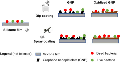 Antimicrobial graphene nanoplatelets coatings for silicone catheters