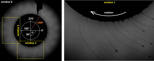 Liquid ligament formation dynamics on a spinning wheel