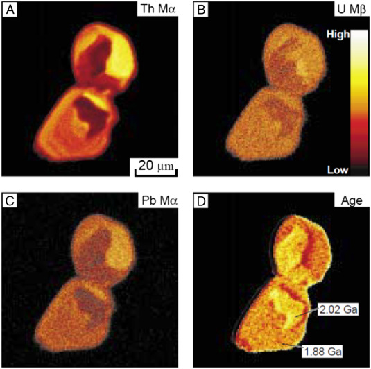 Electron microprobe dating of monazite mineral