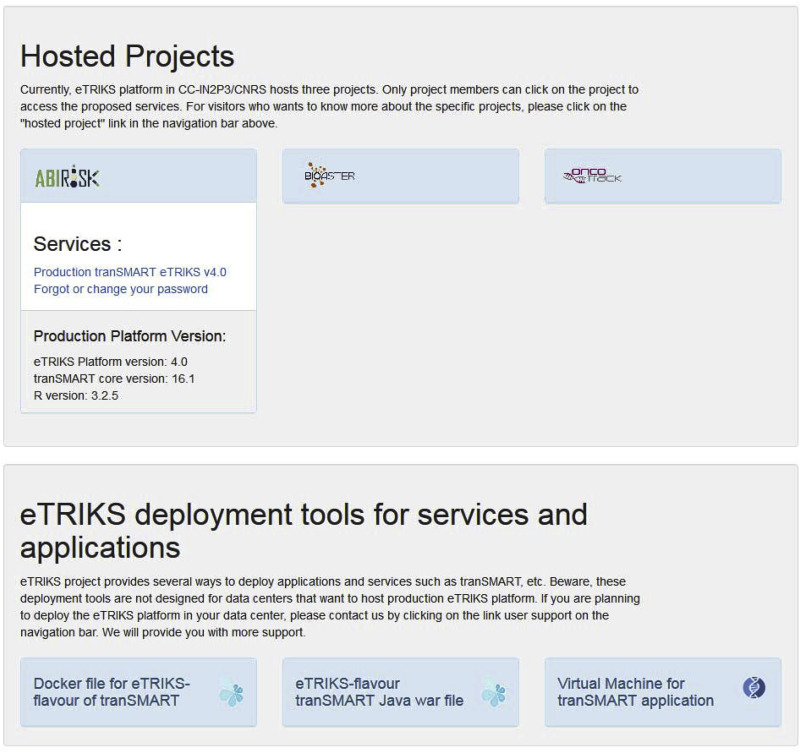 eTRIKS platform: Conception and operation of a highly