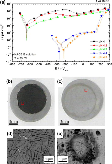 Corrosion and metallurgical investigation of two supermartensitic a polarization curves for 14418 ss in different ph values of the nace b solution under a ph2s 01 bar optical and sem inspection of the sample after fandeluxe Image collections