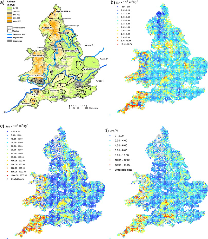 spatial patterns of topsoil magnetic properties at 5 5 km resolution across england and wales a placenames and geographical features b lf