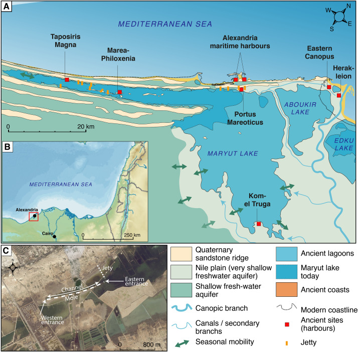 Evolution of ancient harbours in deltaic contexts: a.