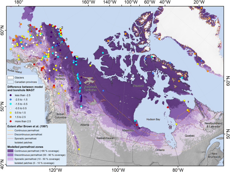 Permafrost Map Canada Northern Hemisphere permafrost map based on TTOP modelling for