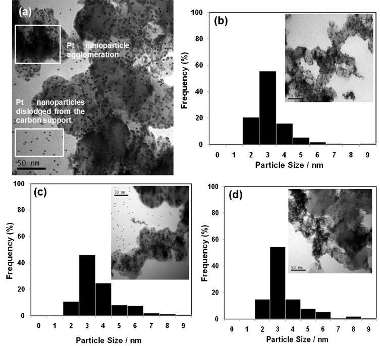 The importance of ultrasonic parameters in the preparation of fuel a tem image of an e tek sample irradiated 20 khz for 30 min at 670 w 20 khz and at 298 1 k particle size histograms and tem images inset for fandeluxe Image collections