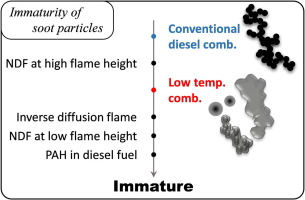 Immaturity of soot particles in exhaust gas for low