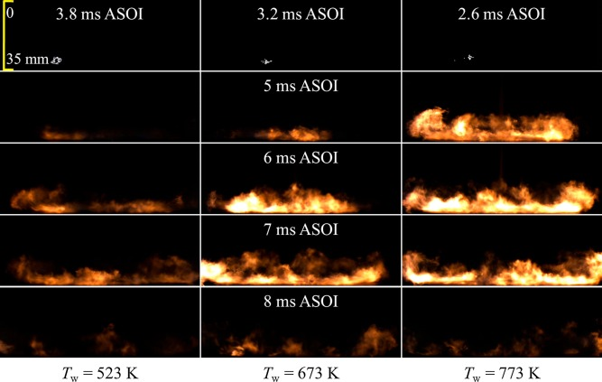 Spray and flame characteristics of wall-impinging diesel fuel spray