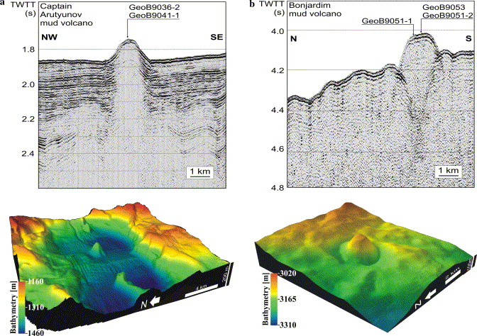 Microbial methane turnover at mud volcanoes of the gulf of cadiz seismic images and 3d images of multibeam bathymetry of captain arutyunov a and bonjardim mud volcano b seismic images show the central conduit below ccuart Gallery