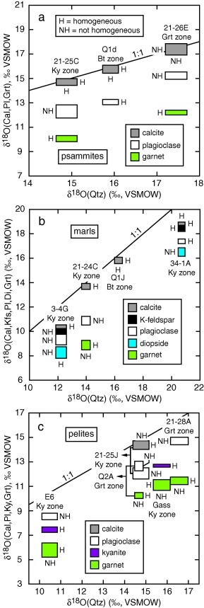 Ion microprobe survey of the grain-scale oxygen isotope